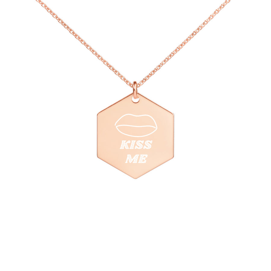 Kiss Engraved Silver Hexagon Necklace
