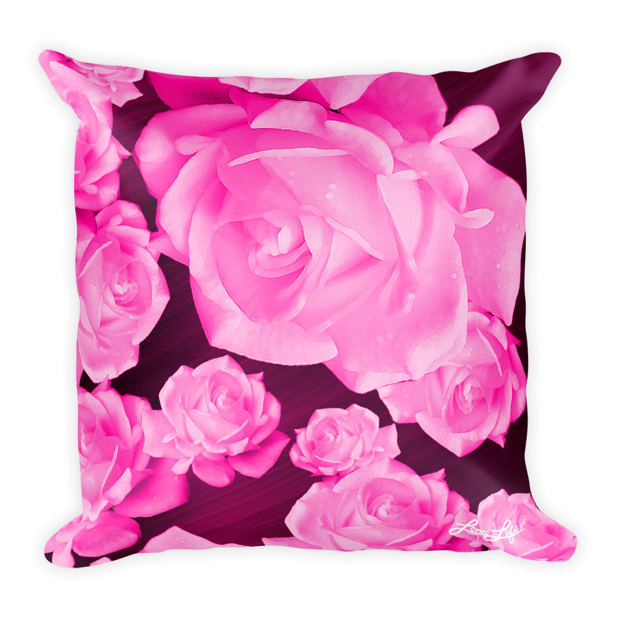 Rosey Pink Square Pillow 18x18