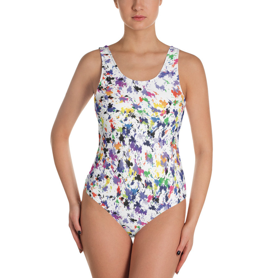 Lovin' Life splatter paint white One-Piece Swimsuit