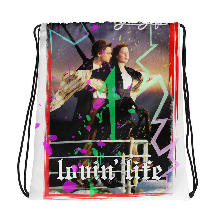 Lovin' Life tanic love Drawstring bag