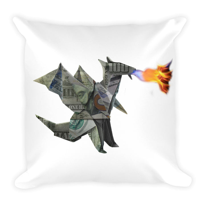 "Origami Money Dragon iPhone Square Pillow 18""x18"""