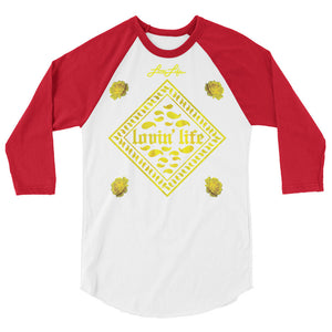 Rosey Yellow 3/4 sleeve raglan shirt