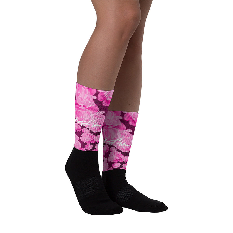 Rosey Pink Black foot socks