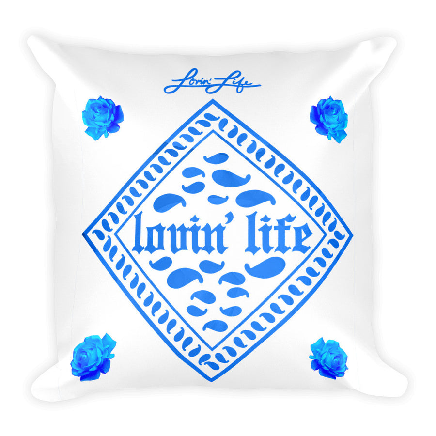 Rosey Blue Square Pillow 18x18