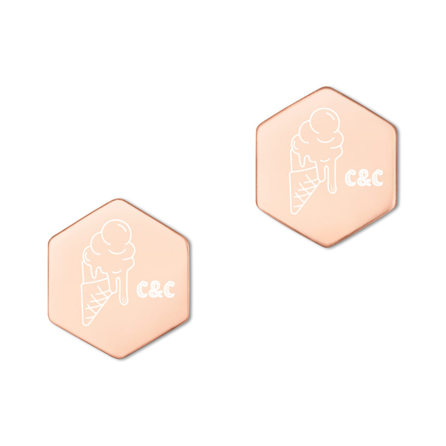 C&C ice cream Sterling Silver Hexagon Stud Earrings