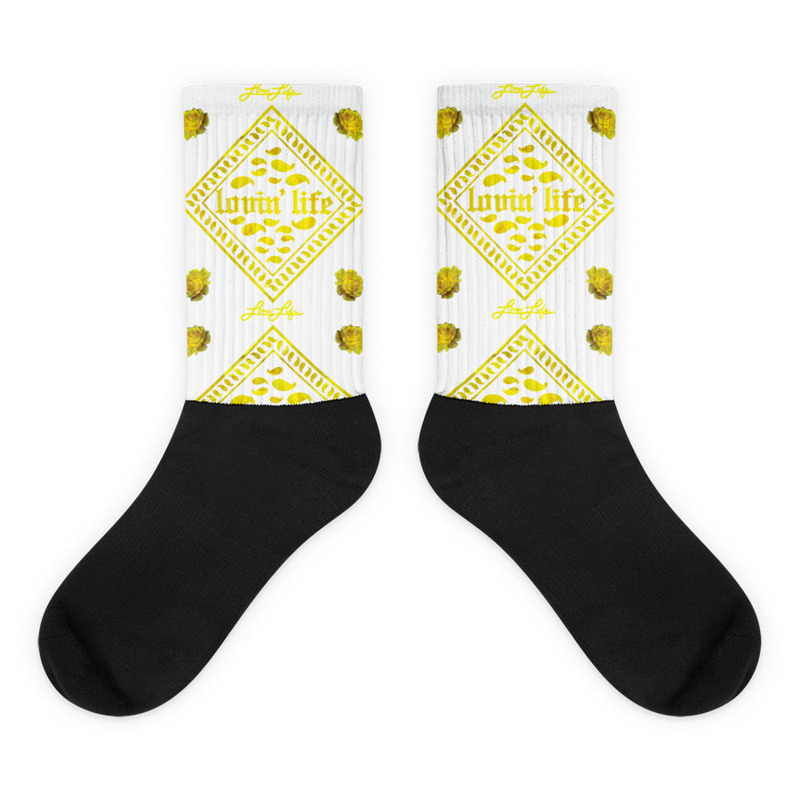 Rosey Yellow Black foot socks