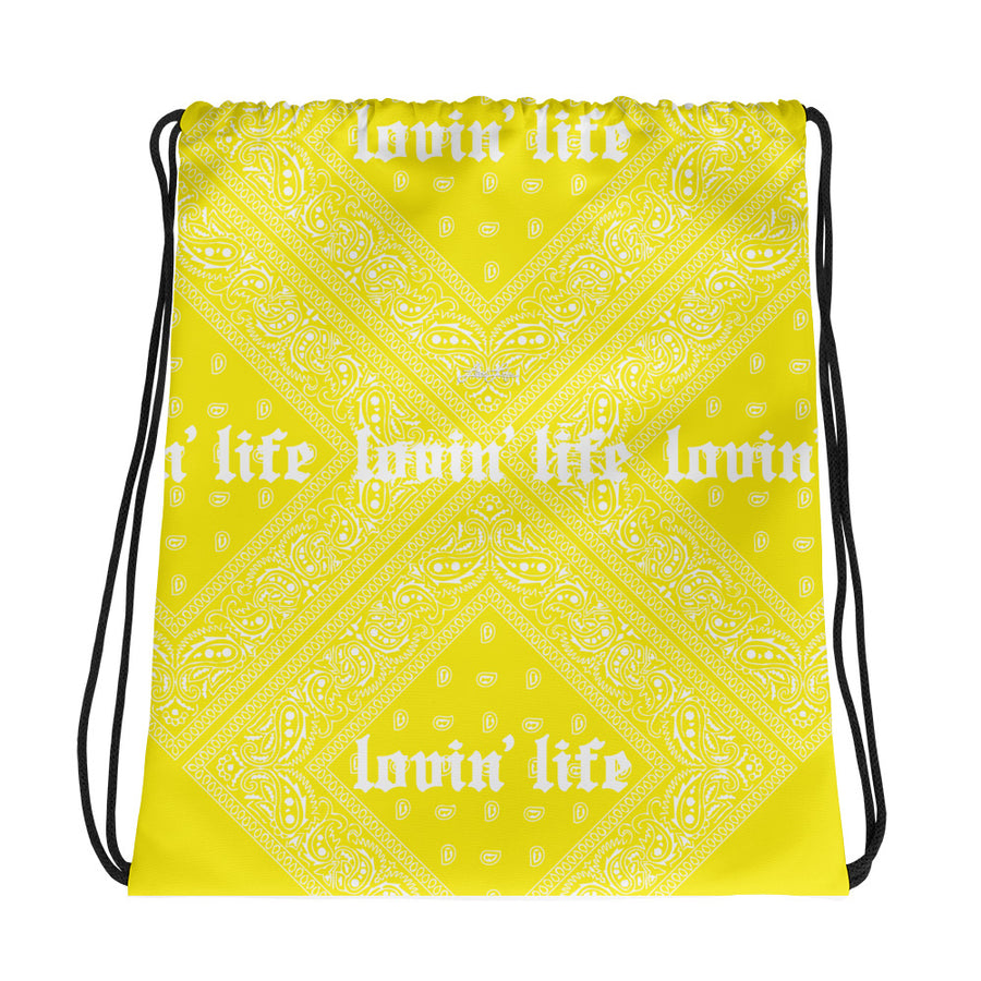 Lovin' Life - el hefe yellow Drawstring bag
