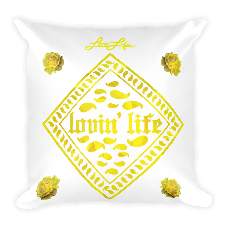 Rosey Yellow Square Pillow 18x18