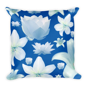 "Floral Blue Square Pillow 18""x18"""
