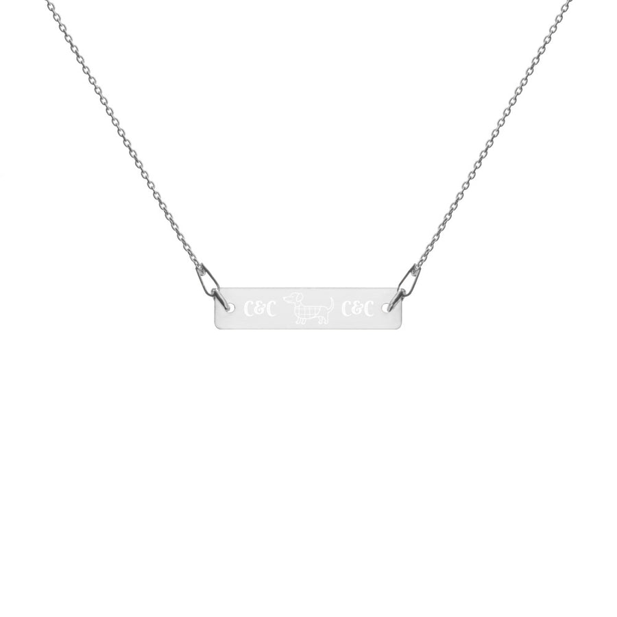 Dog luv Engraved Silver Bar Chain Necklace