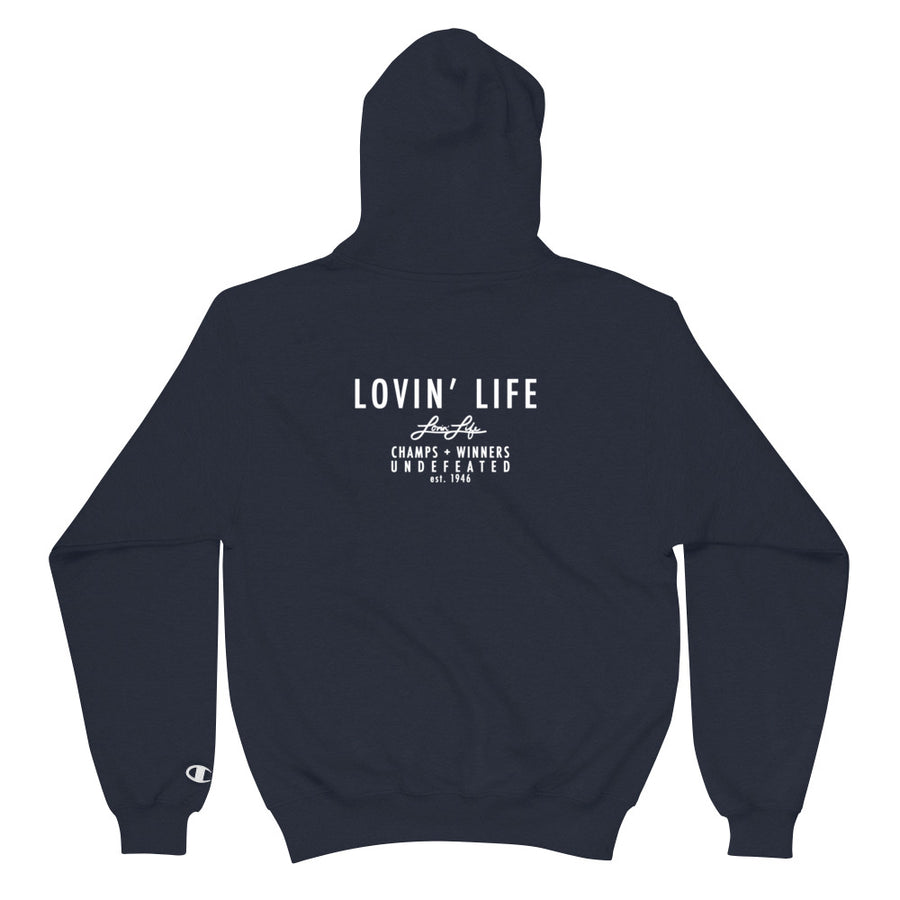 LOVIN' LIFE X CHAMPION MEMBERS ONLY - DIVINITY CRES Hoodie