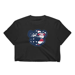 Ladies Leo Lion cub american flag Crop Top