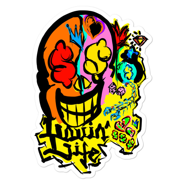 LOVIN' LIFE - SKULL PAPER - silver or lead Collection - Bubble-free stickers
