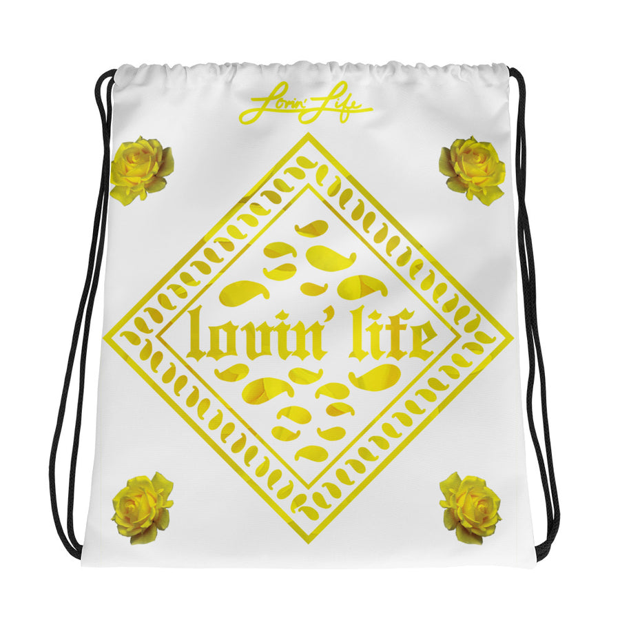 Rosey Yellow Drawstring bag