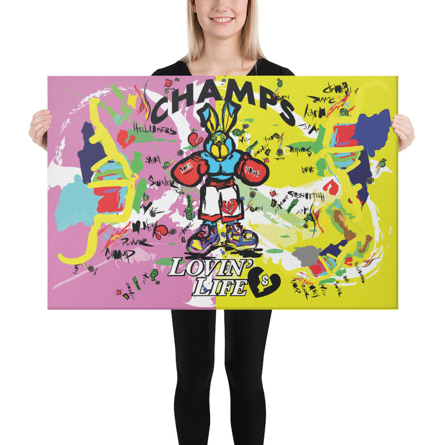 LOVIN' LIFE - PUNCH OUT - HAVE HEART MONEY COLLECTION - Digitized Printed Canvas 24in x 36in