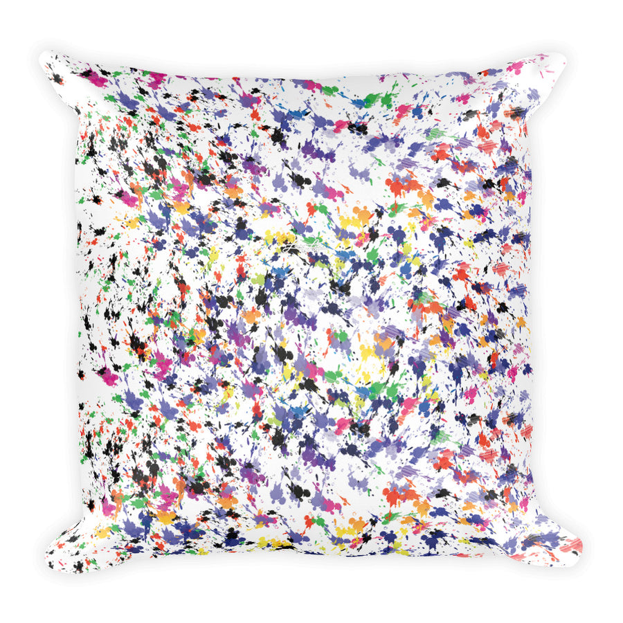 "Lovin' Life splatter paint white Square Pillow 18""x18"""