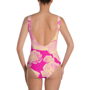 Lovin' Life pink rose One-Piece Swimsuit