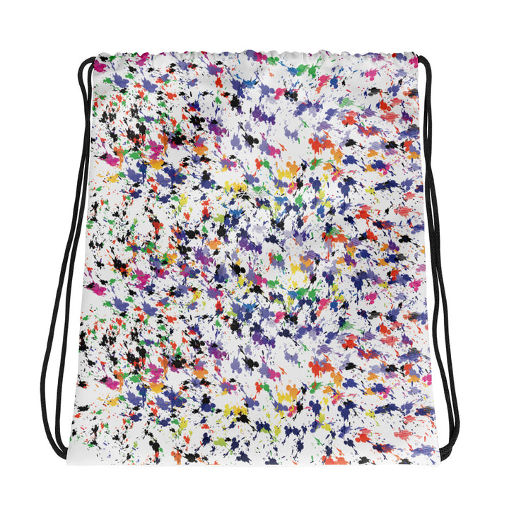 Lovin' Life - splatter paint white Drawstring bag
