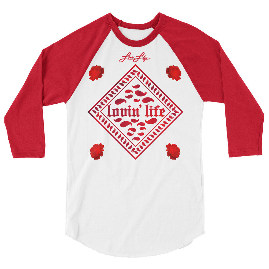 Rosey Red 3/4 sleeve raglan shirt