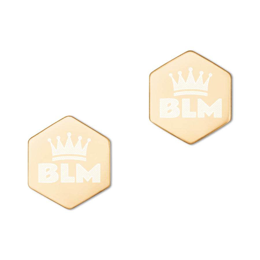 Black Lives Matter (BLM) Crown Sterling Silver Hexagon Stud Earrings