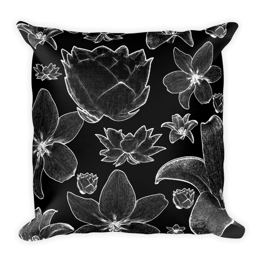 "Floral blk Square Pillow 18""x18"""