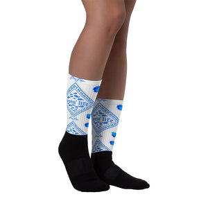 Rosey Blue Black foot socks