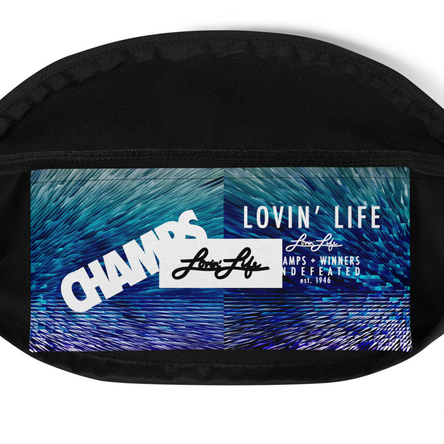 LOVIN' LIFE MEMBERS ONLY - digital red, blue & white - Fanny Pack