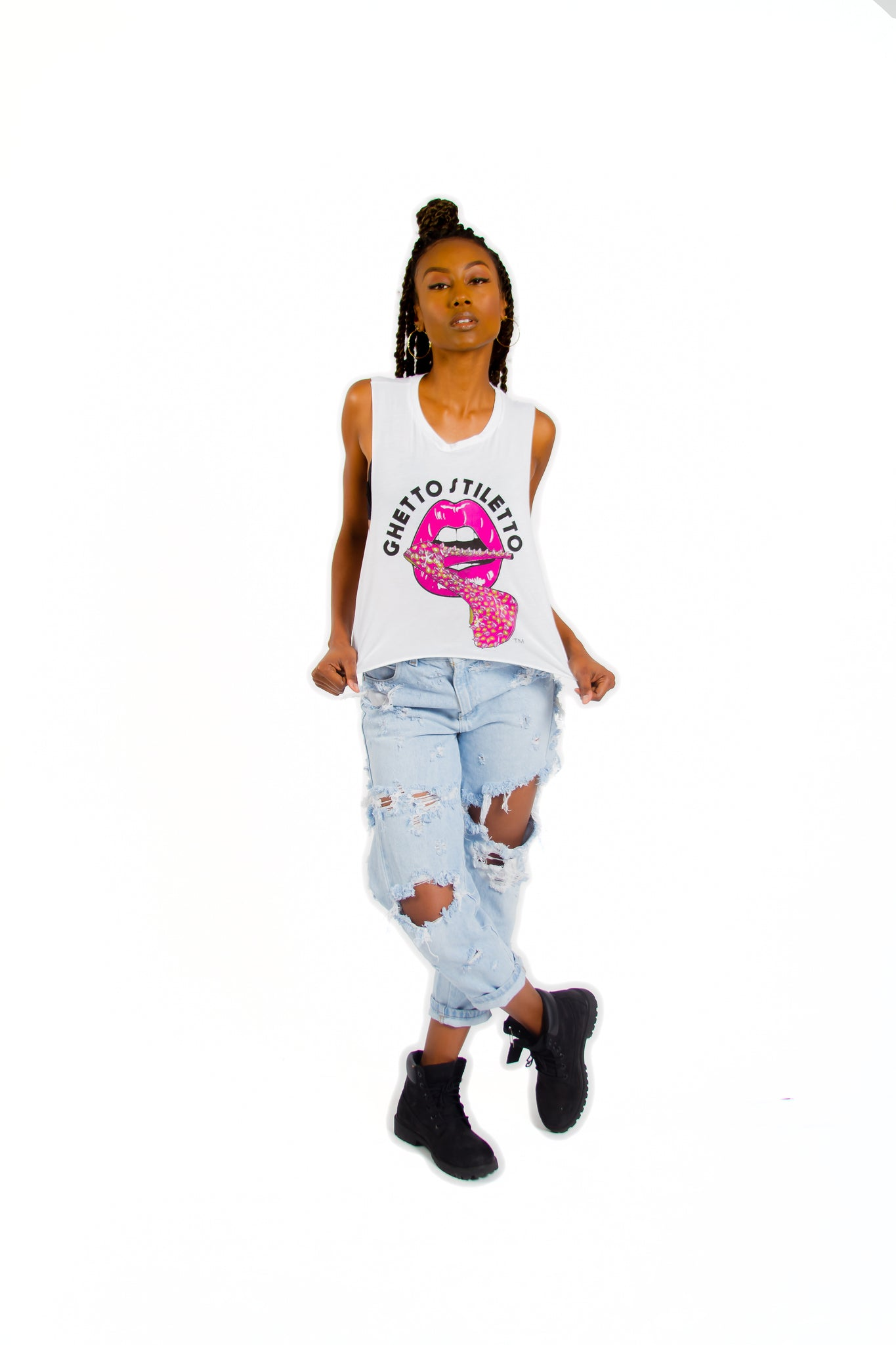 Ghetto Stiletto Muscle Tank Shirt ( 3 Colors)