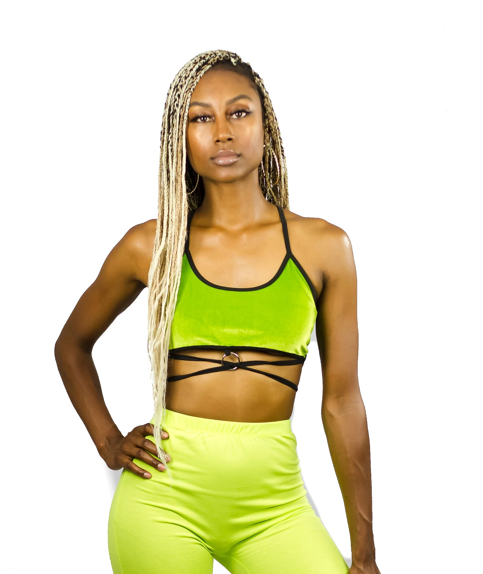 Lace Up Green Velvet Crop Top