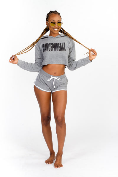 DancePhreakz Crop Top Hoodie-Grey