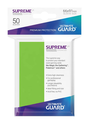Ultimate Guard Supreme UX Sleeves Standard Size Light Green (50) - Ozzie Collectables