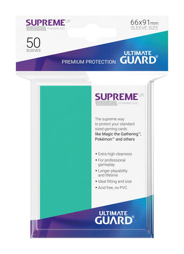 Ultimate Guard Supreme UX Sleeves Standard Size Turquoise (50) - Ozzie Collectables