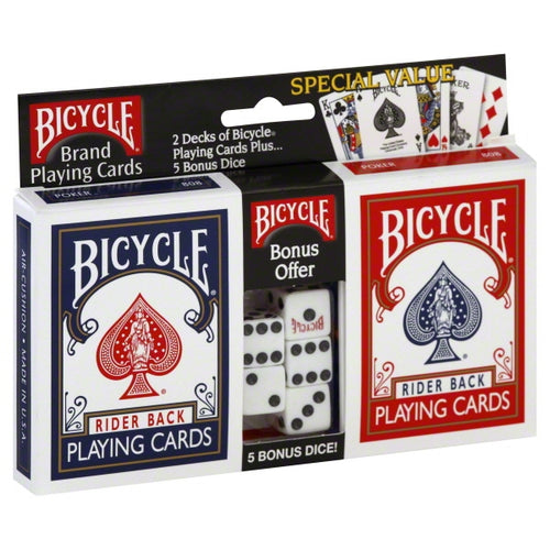 Bicycle Standard Index 2 Pack Playing Cards with 5 Count Dice - Ozzie Collectables