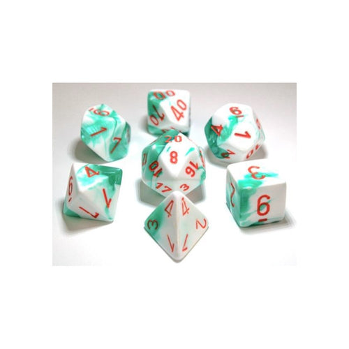 CHX 30020 Gemini Mint Green-White with Orange 7-Die Set - Ozzie Collectables