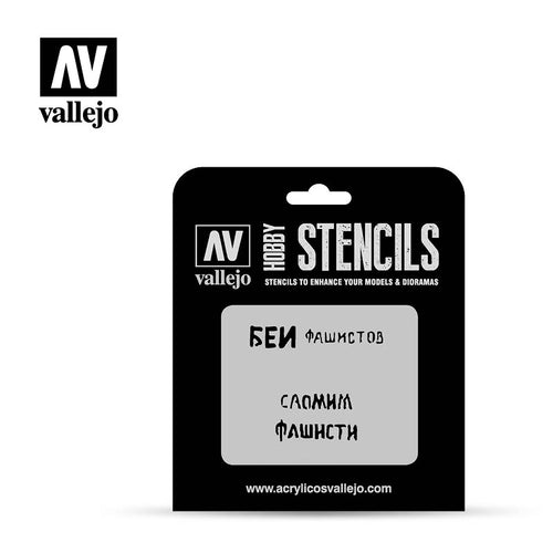 Vallejo Stencils - AFV Markings - Soviet Slogans WWII Num. 1 - Ozzie Collectables