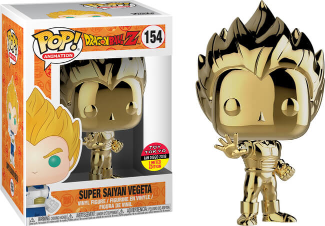 Super Saiyan Vegeta Gold POP! Vinyl 2018 Toy Tokyo Sticker San Diego Summer Convention Exclusive [RS]