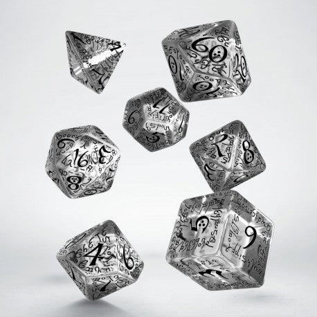 Q Workshop Elvish Translucent & black Dice Set 7