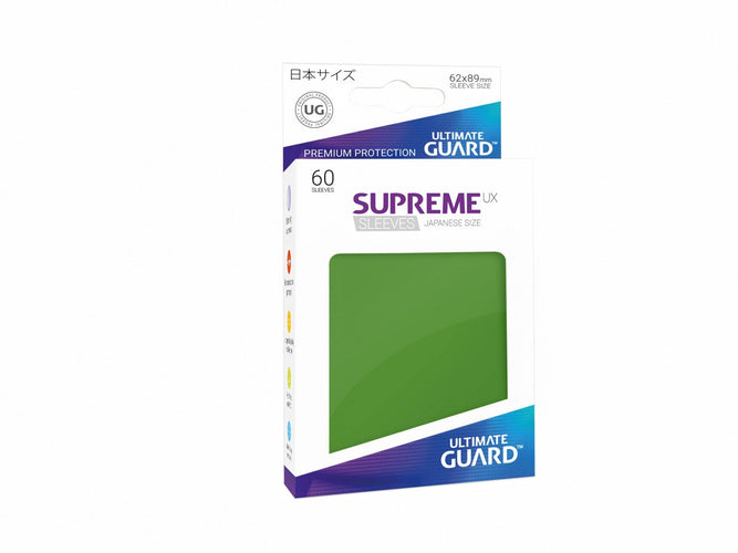 Ultimate Guard Supreme UX Sleeves Japanese Size Green (60) - Ozzie Collectables