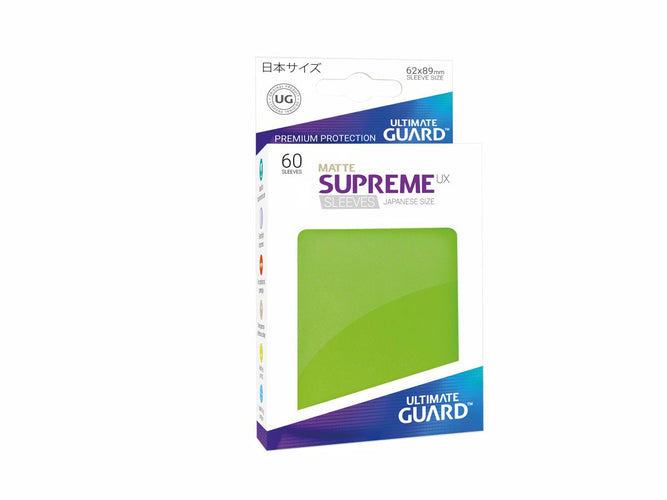 Ultimate Guard Supreme UX Sleeves Japanese Size Matte Light Green (60) - Ozzie Collectables