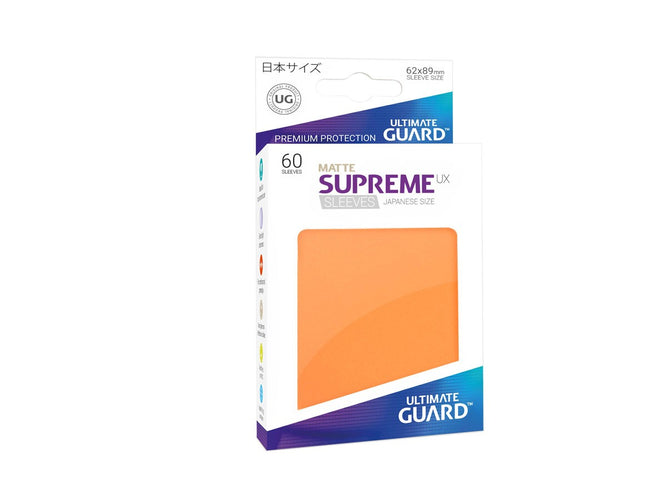 Ultimate Guard Supreme UX Sleeves Japanese Size Matte Orange (60) - Ozzie Collectables