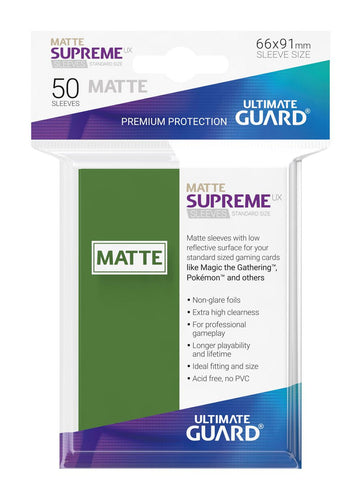 Ultimate Guard Supreme UX Sleeves Standard Size Matte Green (50) - Ozzie Collectables