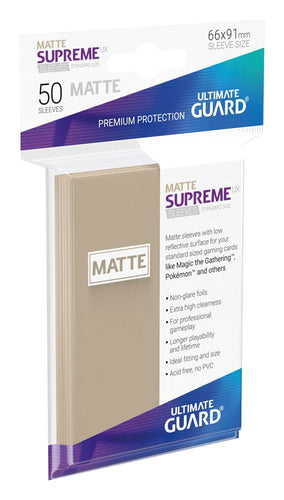Ultimate Guard Supreme UX Sleeves Standard Size Matte Sand (50) - Ozzie Collectables