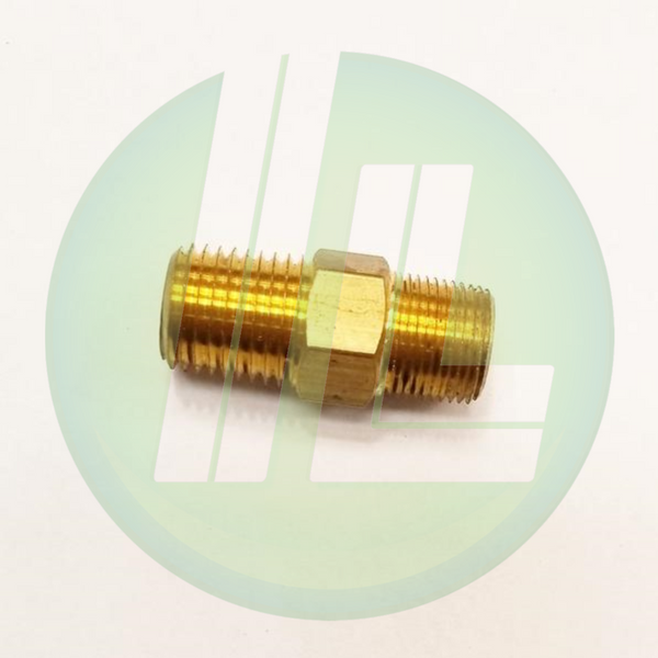 "Lincoln Industrial 10198 Brass Nipple Hose Connector 1/4"" NPT (m) x 1/2"" NPT (m) Pump Accessory Part"