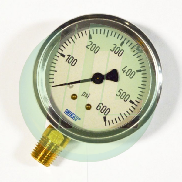 "Wika 9767118 Industrial Liquid Filled Pressure Gauge with 1/4"" Male NPT Connection and Bottom Mount"