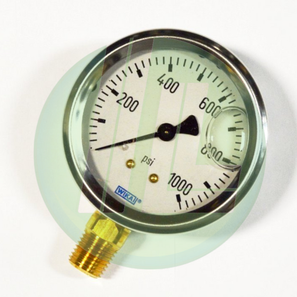 "Wika 9767126 Industrial Liquid Filled Pressure Gauge with 1/4"" Male NPT Connection and Bottom Mount"