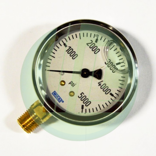 "Wika 9767169 Industrial Liquid Filled Pressure Gauge with 1/4"" Male NPT Connection and Bottom Mount"