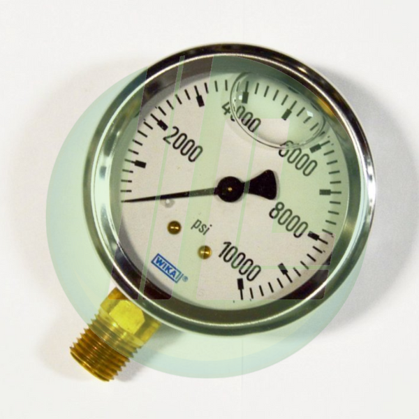 "Wika 9767177 Industrial Liquid Filled Pressure Gauge with 1/4"" Male NPT Connection and Bottom Mount"