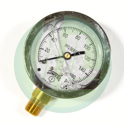 "Winters PFQ805R1 Industrial Filled 2.5"" Pressure Gauge with 1/4"" NPT Bottom Mount Connection"