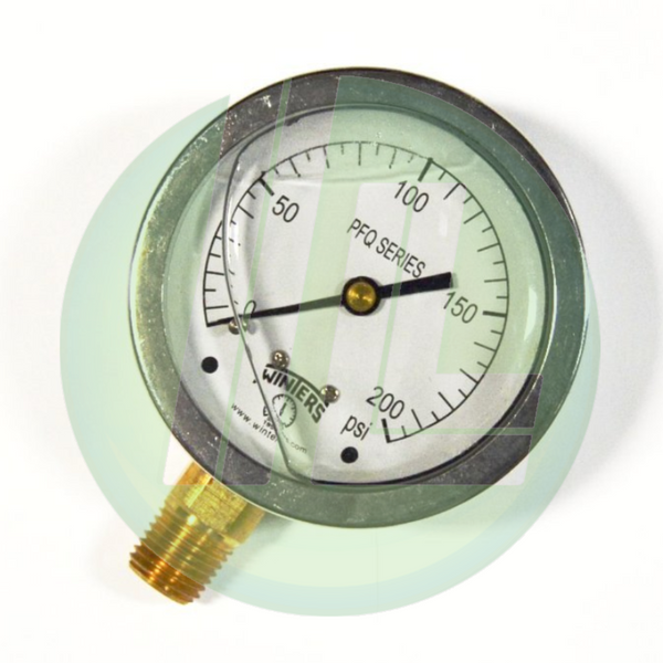 "Winters PFQ806R1 Industrial Filled 2.5"" Pressure Gauge with 1/4"" NPT Bottom Mount Connectio"