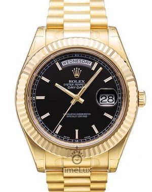 Replica Rolex Day-Date II  41mm Fluted Bezel Gold Black Sticks Markers - TimeLux - Replica Watches Greece